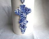 Finial Hand painted porcelain ornament /wall hanging/Christmas tree  decoration- Blue and white Dutch Delft