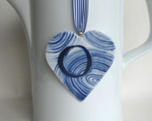 Sale - O - Monogram - Hand painted porcelain  Heart -  Blue and white Delftware ornament