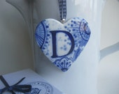 initial D - Monogram - Hand painted porcelain  Heart -  Blue and white Delftware ornament -Personalized