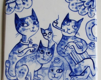Father John - Delft Blue Tile/Wall Hanging  -  Family of Cats - ready to ship