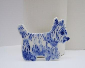 West Highland Terrier  -  Handpainted Blue Delft porcelain Brooch