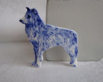 Tasso - Dog  -  Handpainted Blue Delft porcelain Brooch