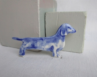 Dachshund -   Brooch - Handpainted Delft blue porcelain Brooch