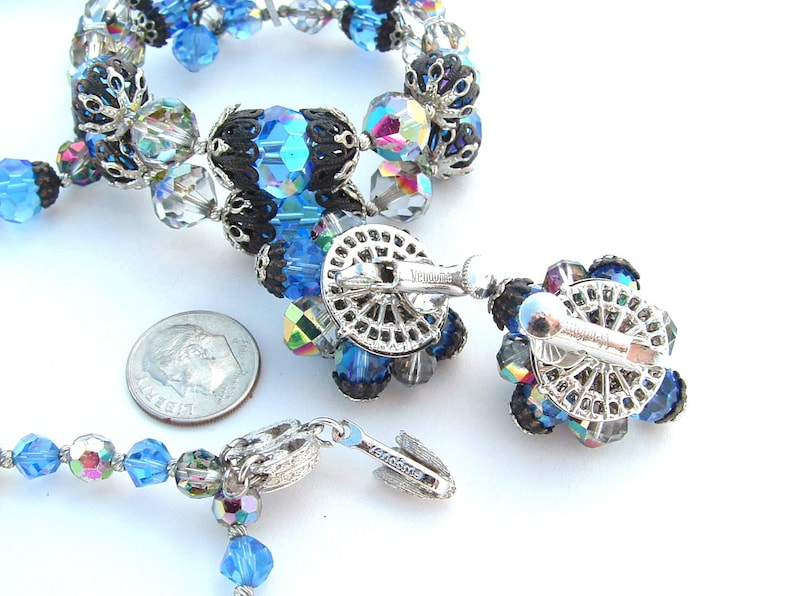 Wrap Bracelet Earrings Multi Strand Necklace Parure DAZZLING Designer VENDOME Sapphire Blue Crystal Necklace Filigree Beaded Jewelry Set
