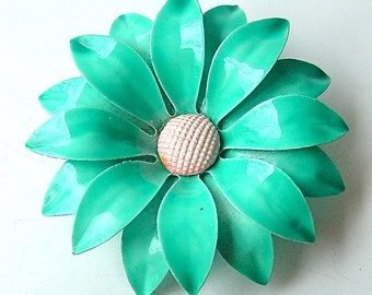 Vintage Bloom Brooch Aqua Turquoise Daisy Double Layered Flower Blossom Brooch ((Free Shipping USA))