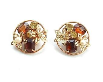 WEISS Earrings Vintage Rhinestone Clip On Flower Rhinestone Amber Topez Designer Jewelry, FREE US Shipping