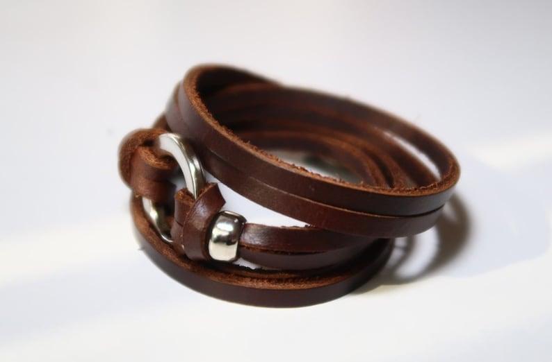 Brown Leather Bracelet Wrap Leather Bracelet Leather Cuff Wrap Leather Bracelet with Bronze Alloy Toggle Clasp