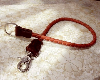 Orange Braided Leather Lanyard Leather Key ring Leather Key Lanyard  Wallet chain with Metal Hook and Key Ring