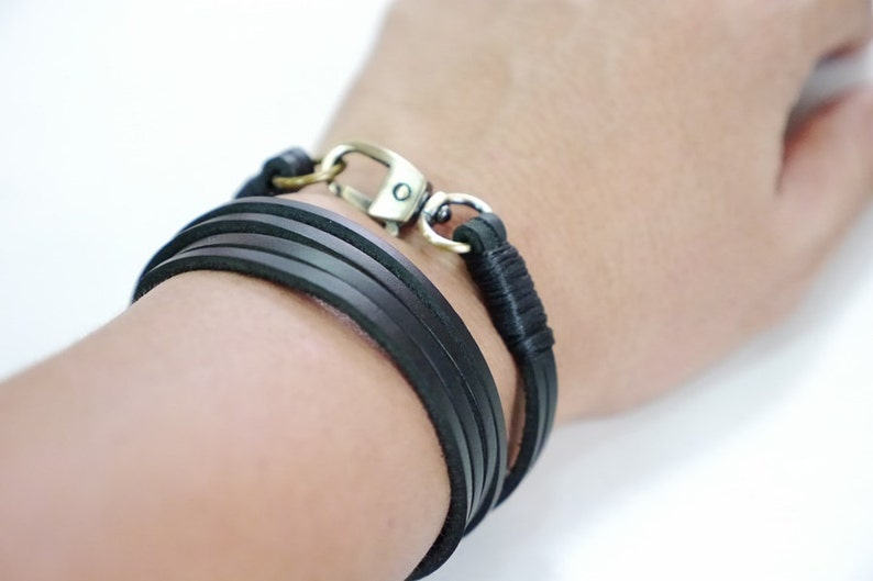 Wrap Leather Bracelet Leather Cuff Bracelet  in Black Color with Bronze Clasp