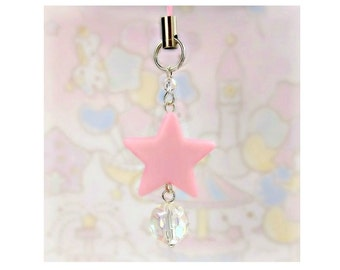 Cute Charms For Phones Planners DS Fairy Kei Sweet Lolita Kawaii Bag Charm Pink Star