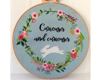 Alice in Wonderland White Rabbit Hoop Hand Embroidery Pattern pdf download