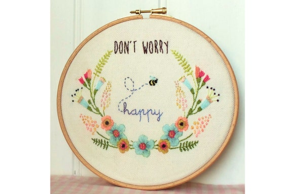 Don t Worry Be Happy Embroidery Hoop Art Pattern pdf  9fc275d28b38e