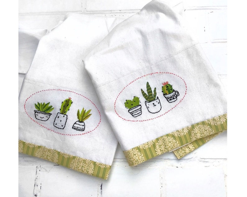 Cute Cactus Tea Towels Hand Embroidery Pattern Pdf Instant Download
