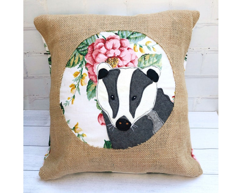 Spring badger cushion pillow applique pattern pdf file instant etsy