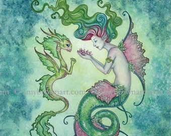 8X10 Magic Under The Water mermaid fairy PRINT by Amy Brown