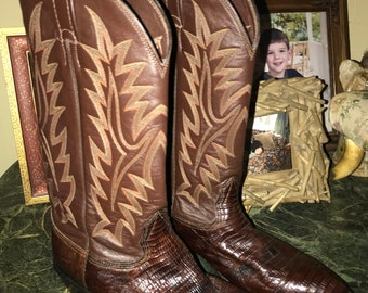Vintage Texas Made Larry Mahan Lizard and Leather Dark Brown Cowboy Boots Size 9 like New
