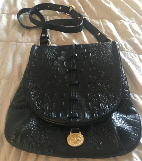 BRAHMIN Black Embossed Croc Crossbody Bag Purse Ad