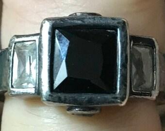 Vintage Large Art Deco Design Sterling Silver Onyx CZ Ring