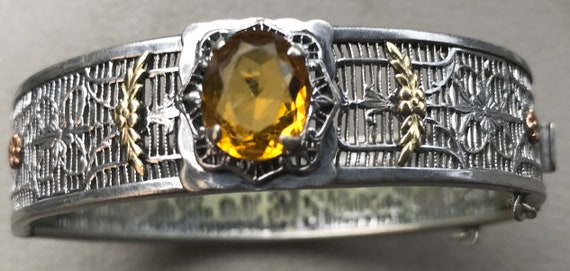 Art Deco 1920s Ornate Filigree  Citrine Bracelet