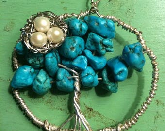 Hand Made turquoise and Pearl Tree of Life with Bird Nest Pendant