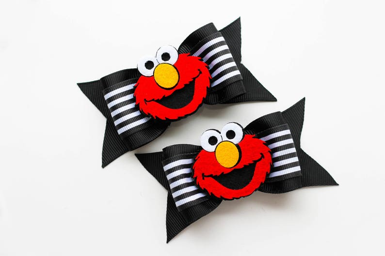 "Elmo Pigtails Bows 3.5/"" wide"
