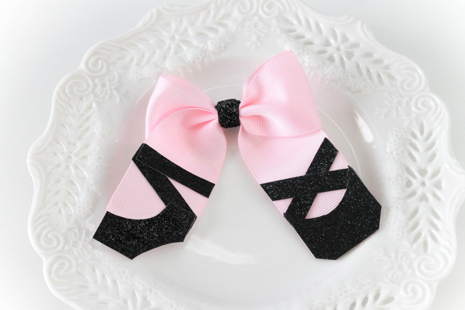 ballerina hair bow, ballet hair bow, pink ribbon clip, pink ribbon ballerina hair clip, ballerina shoes hair clip, ballet slippe