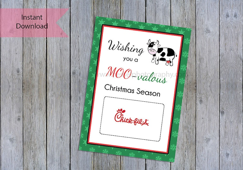graphic about Printable Restaurant Gift Cards called Printable Xmas present card, chick fil a giftcard holder, cafe reward, xmas tag, trainer thank yourself, trainer family vacation, trainer reward