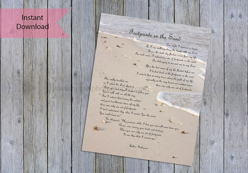 Footprints in the sand, printable poem, it was then that I, inspirational  quote, scripture art, bible verse, beach printable art, christian