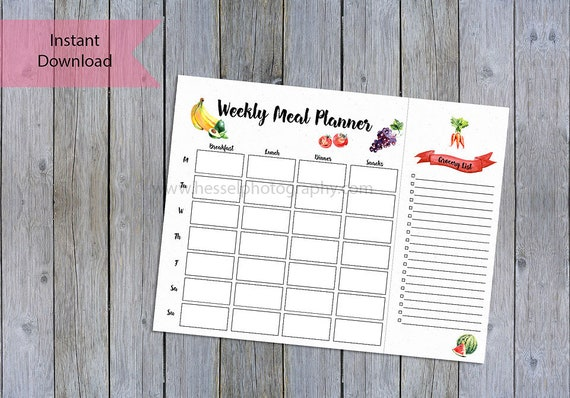 printable meal planner meal planning grocery list food etsy