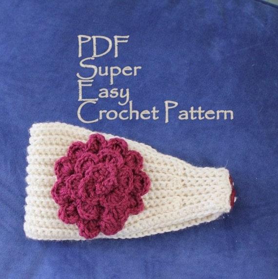 Crochet Pattern Super Easy Crochet Headband With Flower Pdf Etsy