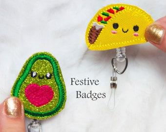 Taco and Avocado Badge Reels.. Pair of Retractable Badge.. Best Friend Badge ID Holder.. RN Nurse Badge .. Gift..Cute.. Funny.. Pediatric