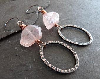 Pink quartz and copper earrings - rustic quartz earrings - raw stone jewellery - boho gift for her - uk