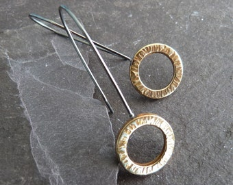 Textured brass and silver circle earrings - gold circle earrings - sterling silver earwires - mixed metal earrings - minimalist gift - uk