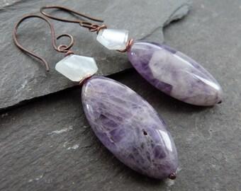 Rainbow moonstone, chevron amethyst, bronze and niobium earrings - purple stone earrings - rustic earrings -boho gift for her - uk