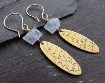 Rainbow moonstone, brass and gold-fill earrings - stamped stars, raw brass - gold and moonstone earrings - boho gift for her - uk