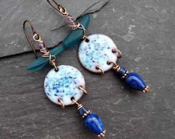 OOAK mixed media earrings| blue artisan discs with lapis lazuli, amethyst and glass | niobium earwires |statement earrings | boho gift | uk