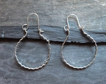 Sterling silver creole hoops - handmade hoops  - crinkle textured hoops - creole style hoops - everyday hoops - minimalist gift for her - uk
