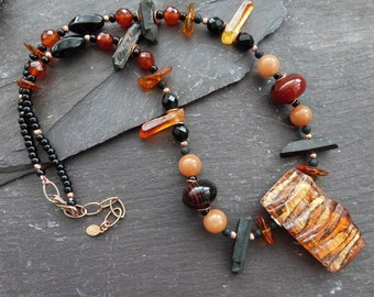 OOAK orange and black necklace - mixed stone necklace with vintage focal bead - one of a kind necklace - boho gift for her - UK