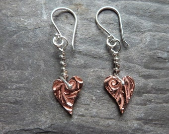 Copper and sterling silver heart earrings - textured copper hearts - sterling silver earwires - love and friendship - gift for her - uk