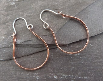 Copper and silver handmade creole hoops - textured copper hoops with sterling silver earwires - creole style hoops - rustic hoops - uk