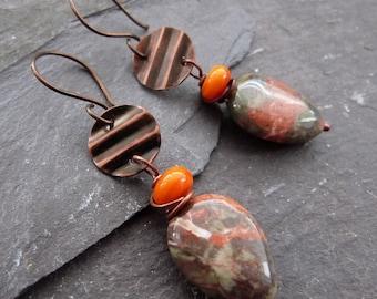 Copper and ocean jasper earrings - textured copper - rustic jasper earrings - niobium earwires - handmade copper crinkle discs - uk