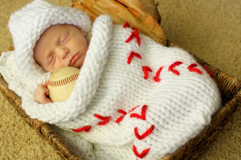 Knit Baseball Cocoon And Hat Pattern Etsy