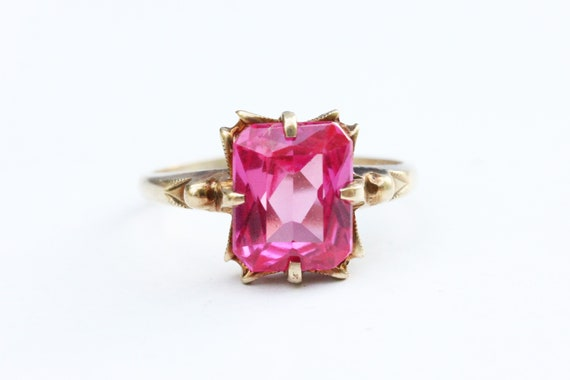 Pink Gold Ring, Pink Glass Ring, Pink Ring, Oval S