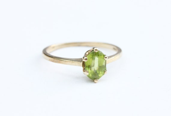 Gold Peridot Ring, Peridot Ring, Gold Ring, 10K Go