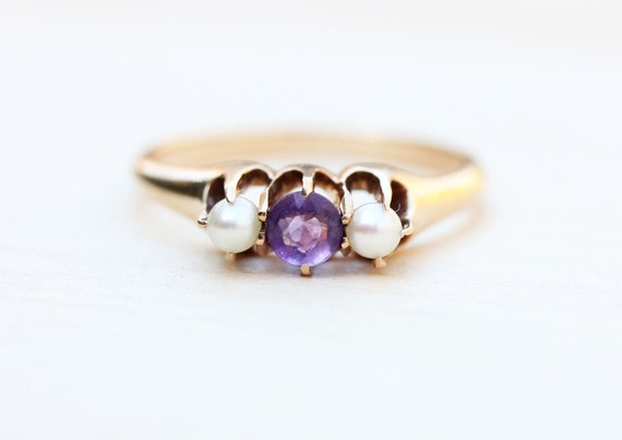 Victorian Stone Ring, Amethyst Victorian Ring, Pea