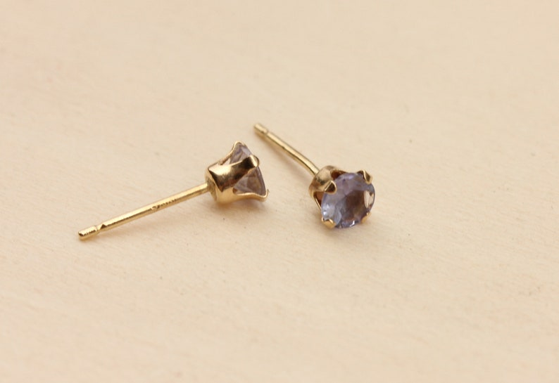 Gold Iolite Stud Earrings 10K Gold Earrings Iolite Stud Earrings Gold Iolite Earrings Blue Gold Stud Earrings Purple Gold Stud Earrings