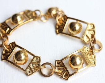 Gold Chain Bracelet, Gold Link Bracelet, Chain Bracelet, Bead Bracelet, Gold Bracelet, Brass Bracelet, Brass Chain Bracelet
