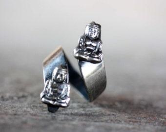 Buddha Ring Silver, Twist Buddha Ring, Twist Ring, Buddha Ring, Silver Buddha Ring, Yoga Ring, Spiritual Ring, Silver Ring, Vintage Ring