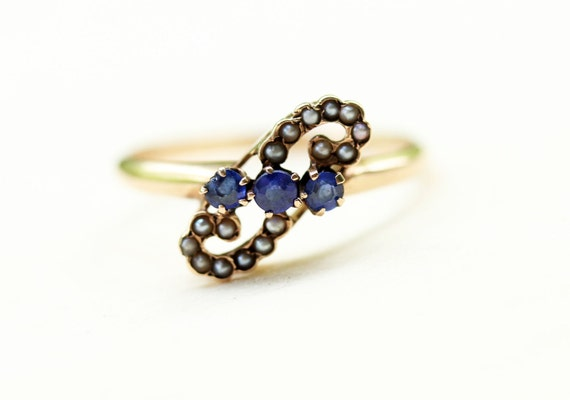 Victorian Paisley Ring, Blue Victorian Ring, Pearl