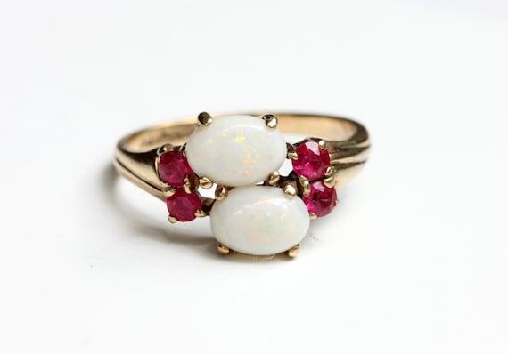 Double Opal Ring, Gold Opal Ring, Opal Ring, Opal